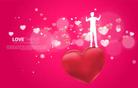 Vector silhouette of conductor standing with heart balloon flying . Concept background for love song and concert theme. Vectores