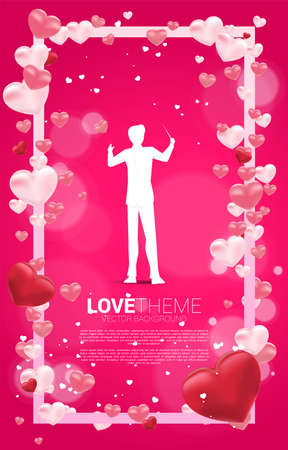 Vector silhouette of conductor standing with Heart balloon flying and square frame. valentine's day and love theme banner and poster Stock fotó