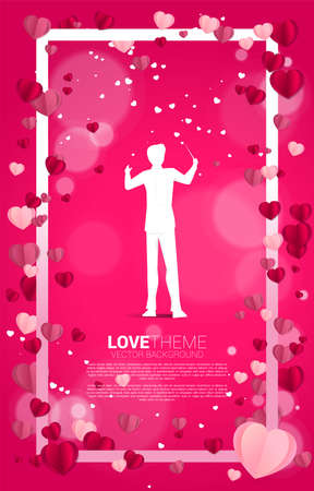 Vector silhouette of conductor standing with Heart paper art flying square frame. valentine's day and love theme banner and poster Foto de archivo