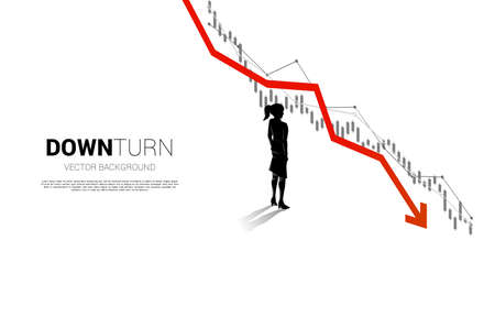 silhouette of businesswoman standing downturn graph. Concept for fail and accidental business Illusztráció