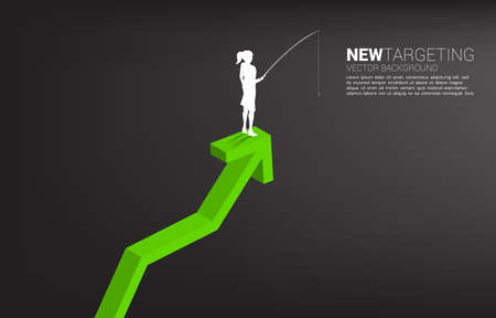 Silhouette of businesswoman fishing on top of graph. Concept of targeting and bait in business. Illusztráció