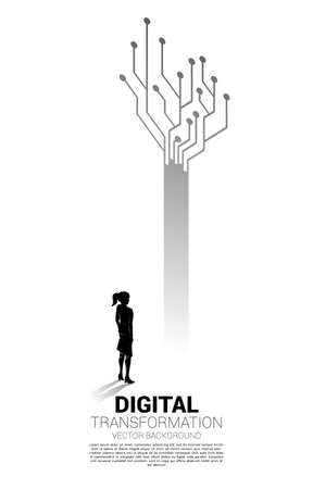 Silhouette of businesswoman standing with tree from dot connect line circuit. concept of digital transformation of business.