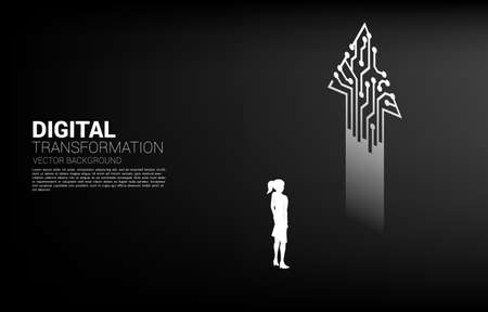 Silhouette of businesswoman standing with arrow from dot connect line circuit. concept of digital transformation of business.