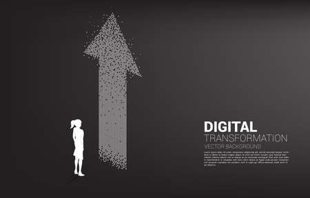 Silhouette of businesswoman standing with the arrow from pixel. concept of digital transformation of business.