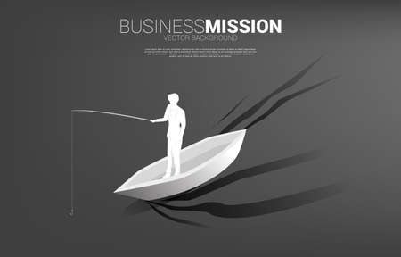 Silhouette of businessman standing with fishing hook on boat. Concept of targeting and bait in business. Vectores