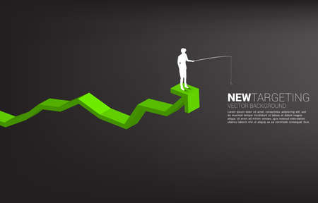 Silhouette of businessman fishing on top of graph. Concept of targeting and bait in business.