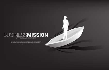 Silhouette of businessman on boat moving forward. Business Concept of leadership and vision mission.