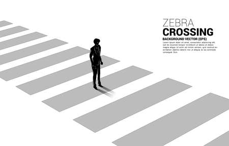 Silhouette of businessman standing on zebra crossing. Concept of safe zone and business road map. Illusztráció