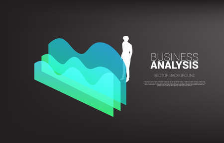 Silhouette of businessman standing with graph. Concept of business information and data analysis.
