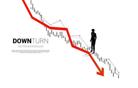 silhouette of businessman standing downturn graph. Concept for fail and accidental business Stock fotó - 168361848