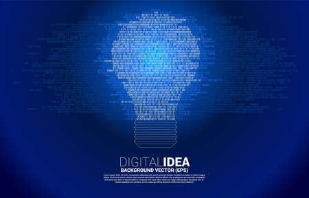Vector light bulb from one and zero binary code digit matrix style on white background. Concept of business idea and creativity with technology.