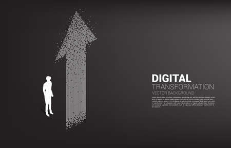 Silhouette of businessman standing with the arrow from pixel. concept of digital transformation of business. Vectores