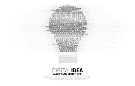 Vector light bulb from one and zero binary code digit matrix style on white background. Concept of business idea and creativity with technology. Stock fotó - 168361852