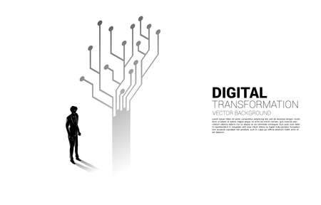 Silhouette of businessman standing with tree from dot connect line circuit. concept of digital transformation of business.