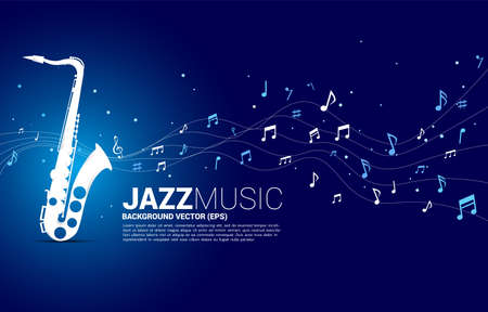 Vector music melody note dancing flow from saxophone . Concept background for jazz song and concert theme. Vectores