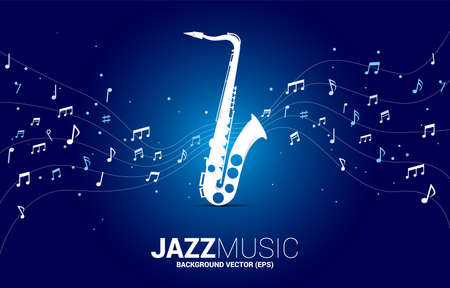 Vector music melody note dancing flow from saxophone . Concept background for jazz song and concert theme. Illusztráció