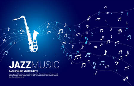Vector music melody note dancing flow from saxophone. Concept background for jazz song and concert theme.