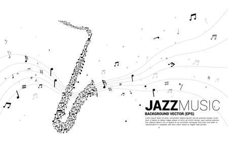 Vector saxophone from music melody note flow. Concept background for jazz song and concert theme.