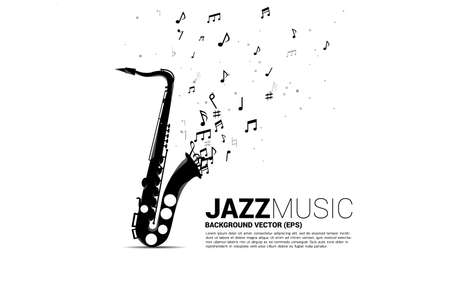 Vector music melody note flow from saxophone. Concept background for jazz song and concert theme. Illusztráció