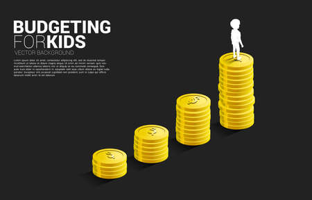 silhouette of boy standing on top of growth graph with stack of coin. Concept of budgeting for kids.