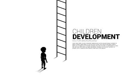 silhouette of kid standing with the ladder for go up. Concept of children education and learning.