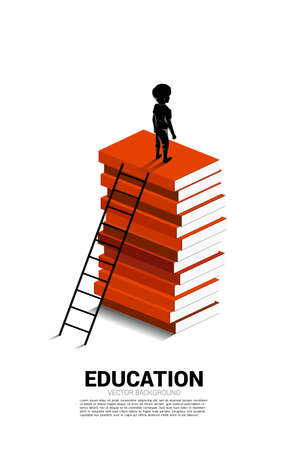 Concept background for power of knowledge. Silhouette of boy on top of book stack with ladder.