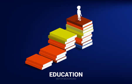 Concept background for power of knowledge. Silhouette of kid standing on stack of books.