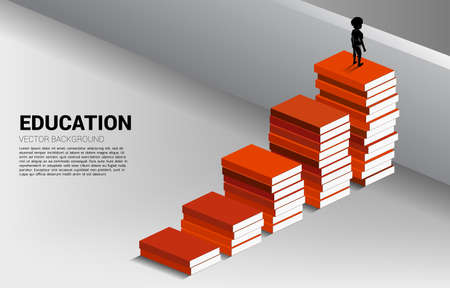 Concept background for power of knowledge. Silhouette of boy move to cross wall with step from book stack.