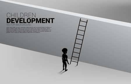 silhouette of kid ready to cross over the wall with ladder. Concept of children education and learning.