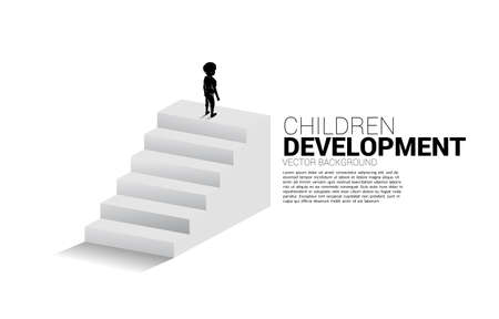 Silhouette of boy standing on top of stair. Concept of people ready to up level of career and business. Illusztráció