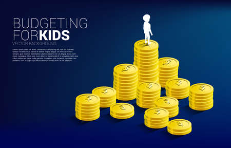 silhouette of boy standing on top of stack of coin. Concept of budgeting for kids. Illusztráció