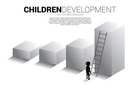 silhouette of boy standing on bar graph with ladder. Concept of children education and learning.
