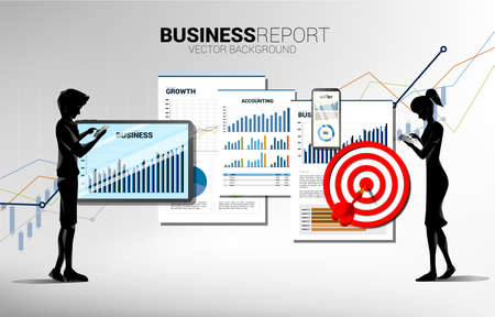 man and woman with mobile phone and business report in tablet and mobile phone with paper and dart target. Concept for marketing plan and business report on mobile Illusztráció