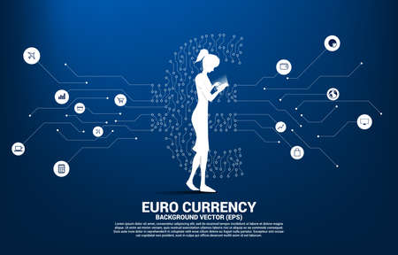 woman with mobile phone and euro currency money icon from circuit board style dot connect line. Concept for europe financial network connection.