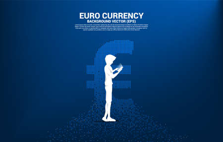 Vector silhouette man use mobile phone with money euro currency icon from pixel transform. Concept for digital financial network connection.