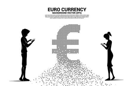 Vector silhouette man and woman use mobile phone with money euro currency icon from pixel transform. Concept for digital financial network connection.