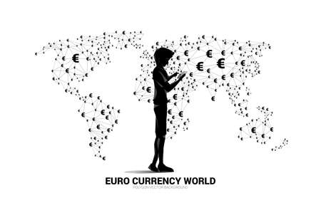 silhouette man use mobile phone world map with money and euro currency icon polygon dot connected line. Concept for financial network connection technology in euro zone. Illusztráció