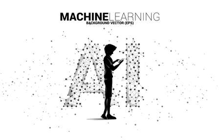 Vector silhouette man use mobile phone Polygon dot connect line shaped AI. Concept for machine learning and artificial intelligence.