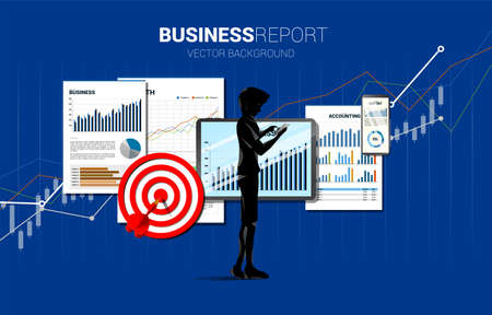 man with mobile phone and business report in tablet and mobile phone with paper and dart target. Concept for marketing plan and business report on mobile