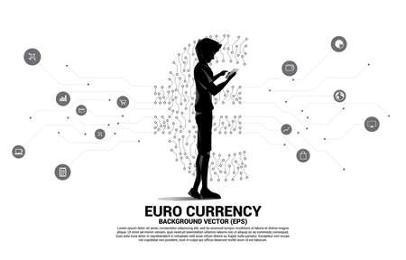man with mobile phone and euro currency money icon from circuit board style dot connect line. Concept for europe financial network connection.