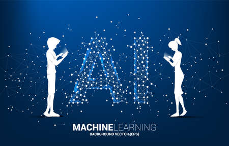 Vector silhouette man and woman use mobile phone Polygon dot connect line shaped AI. Concept for machine learning and artificial intelligence. Illusztráció