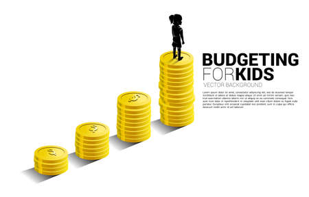 silhouette of girl standing on top of growth graph with stack of coin. Concept of budgeting for kids.