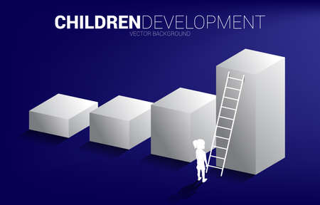 silhouette of girl standing on bar graph with ladder. Concept of children education and learning.