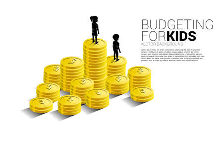 silhouette of girl standing on top of stack of coin. Concept of budgeting for kids.