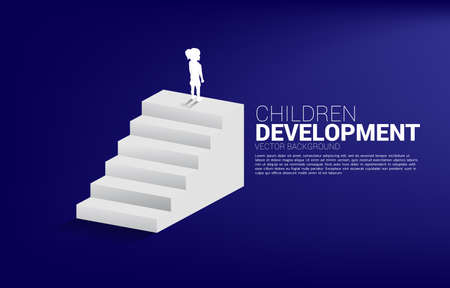 Silhouette of girl standing on top of stair. Concept of people ready to up level of career and business. Illusztráció