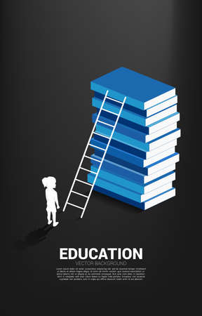 Concept background for power of knowledge. Silhouette of girl standing in front of book stack with ladder.