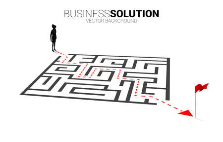 Silhouette of businesswoman with route path to exit the maze. Business concept for problem solving and finding idea. Illusztráció