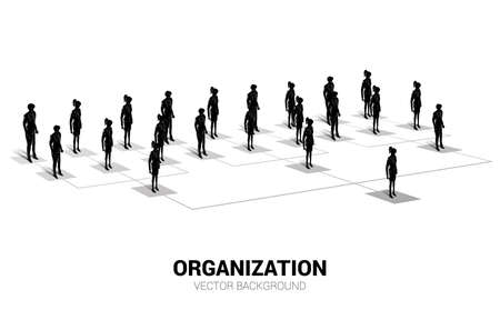Silhouette of businessman and businesswoman standing on organization chart . Business Concept of corporate structure and team hierarchy