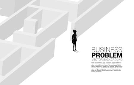 Silhouette of businesswoman at exit of the maze. Business concept for problem solving and finding idea.