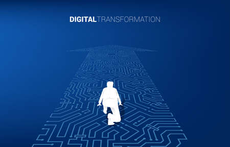 Silhouette of businessman in ready position on the arrow dot connect circuit board style. concept of digital transformation of business.